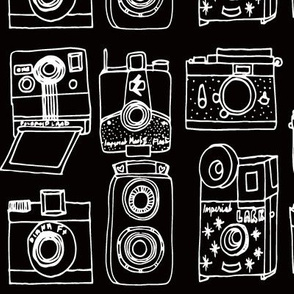 Vintage Cameras // black and white hand-drawn vintage camera illustration
