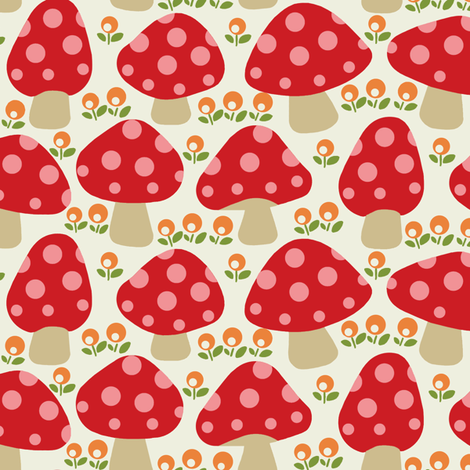 Dottie mushrooms _ Red fabric by hoodiecrescent&stars on Spoonflower - custom fabric