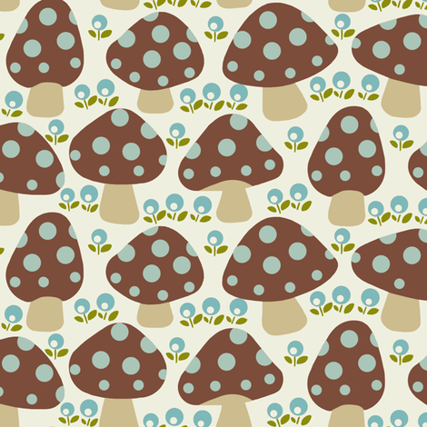 mushrooms_brown fabric by hoodiecrescent&stars on Spoonflower - custom fabric