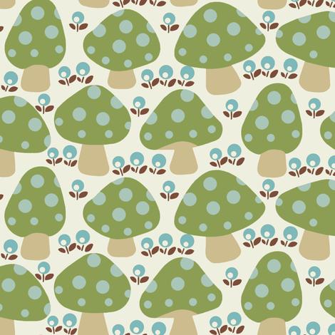 Dottie_mushrooms_Green fabric by hoodiecrescent&stars on Spoonflower - custom fabric