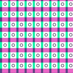 Eyelet Check - Pink & Green