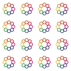 Geometric Rainbow Circle Flowers