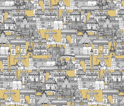 Paris toile gold fabric by scrummy on Spoonflower - custom fabric