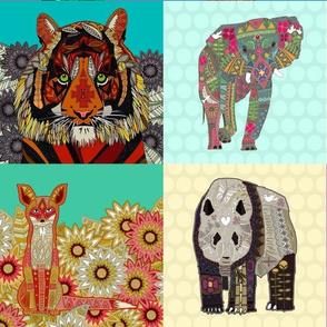 """animal panels 6"""" squares"""