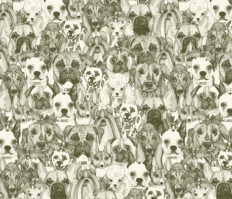 christmas dogs natural fabric by scrummy on Spoonflower - custom fabric