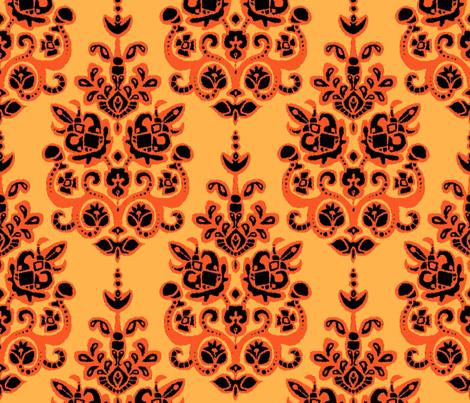Halloween gold damask ikat fabric by scrummy on Spoonflower - custom fabric