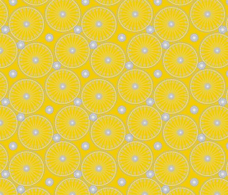 bicycle wheels and gears - meyers lemon fabric by glimmericks on Spoonflower - custom fabric