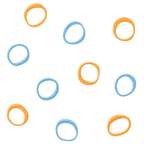 Painted Retro Circles orange blue