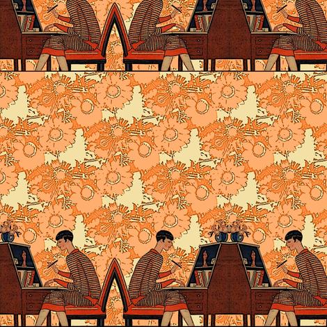 writing woman stripe fabric by nalo_hopkinson on Spoonflower - custom fabric