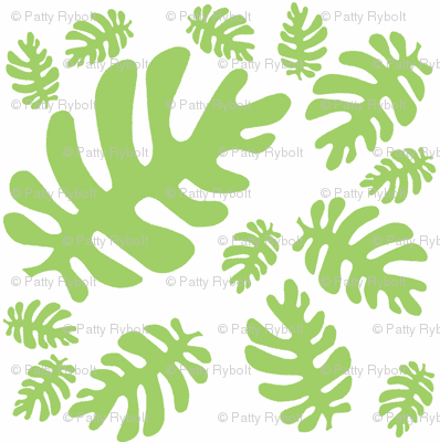 Funky Tropical Leaf Pattern! (green & white)