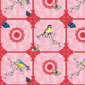 Birds at your window (Red and Pink)