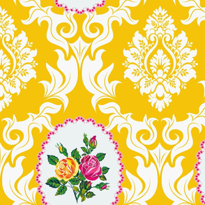 Bird Damask (Egg Yoke Yellow)