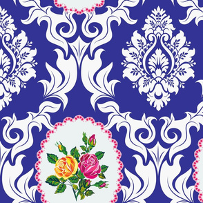Bird Damask (dark blue)