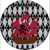 4x4 Wall Decal ship pirate Skull Crossbones