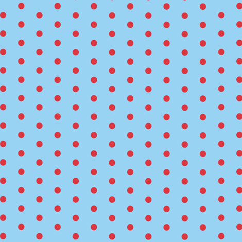 Polka dot baby blue and red fabric nimochka spoonflower