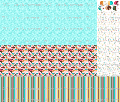 Cupcakes and Swirls Collection - 1st Birthday Pinafore - Pink and Blue by JoyfulRose