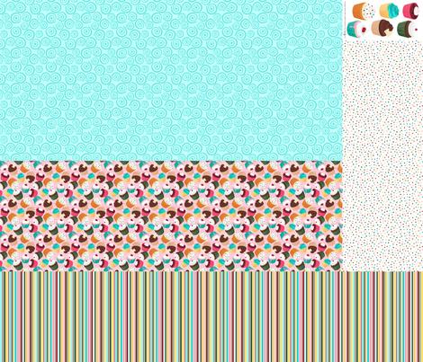 Cupcakes and Swirls Collection - 1st Birthday Pinafore - Pink and Blue by JoyfulRose fabric by joyfulrose on Spoonflower - custom fabric