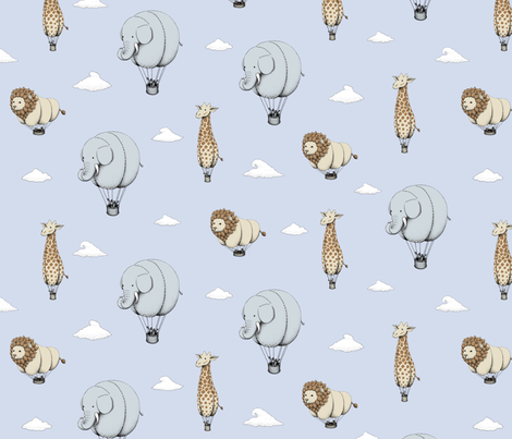 African Animal Airships fabric by rhysotronic on Spoonflower - custom fabric