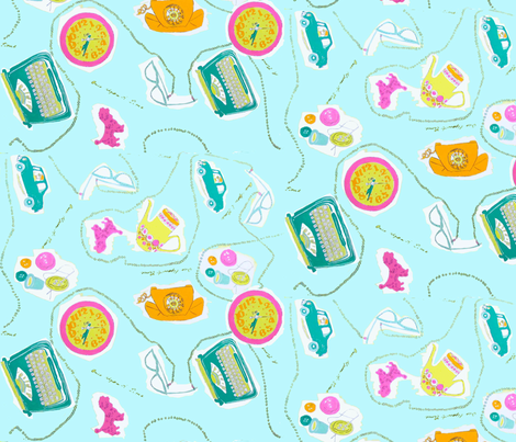 Simple Times aqua fabric by bettieblue_designs on Spoonflower - custom fabric