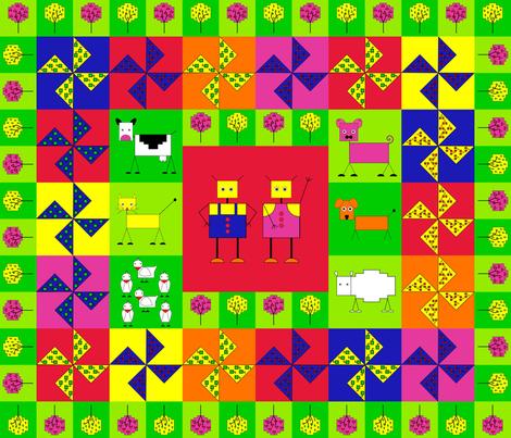 Robot farm cheater quilt fq fabric by alexsan on Spoonflower - custom fabric