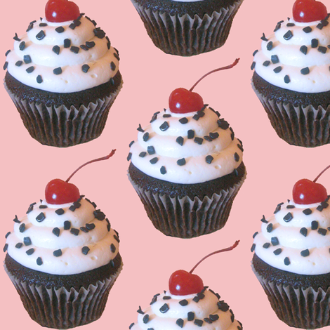 Large Cupcakes on Pink fabric by sufficiency on Spoonflower - custom fabric