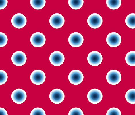 pois bleu fond rouge fabric by nadja_petremand on Spoonflower - custom fabric