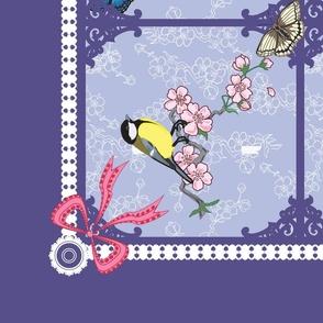 Birds and Butterflies Tea Towel  (Lavender)