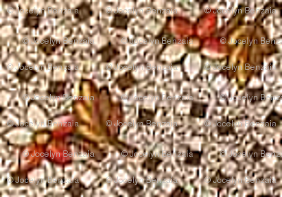 Brown with Red & White flowers