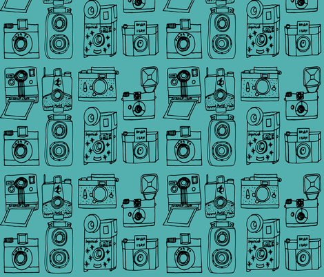 Vintage Cameras // turquoise black hand-drawn illustration fabric by andrea_lauren on Spoonflower - custom fabric
