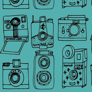 Vintage Cameras // turquoise black hand-drawn illustration