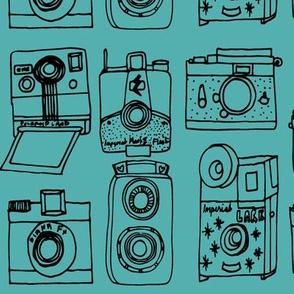 Vintage Cameras // turquoise black hand-drawn illustration