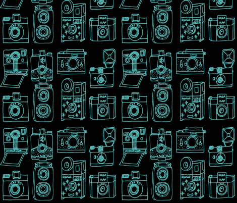 Vintage Cameras // black and turquoise fabric by andrea_lauren on Spoonflower - custom fabric