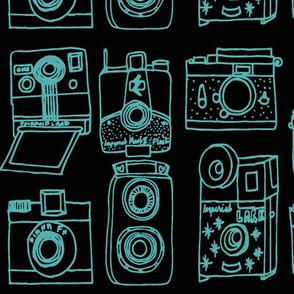 Vintage Cameras // black and turquoise