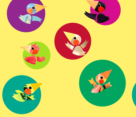 Birds fabric by honey_gherkin on Spoonflower - custom fabric
