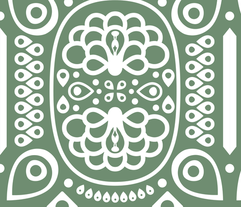 Tribal Peacock in Olive fabric by katphillipsdesigns on Spoonflower - custom fabric