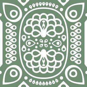 Tribal Peacock in Olive