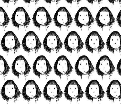 Doodle Girl fabric by mudballmermaid on Spoonflower - custom fabric