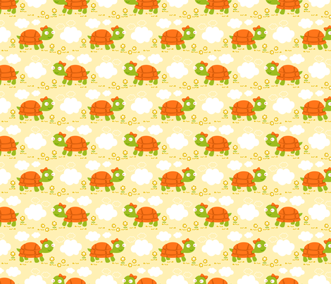 Tortuguita nubes y flores fabric by gemmacreativa on Spoonflower - custom fabric
