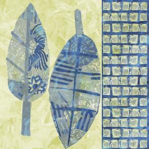 Collage Leaf Wide Stripe Navy & Cream
