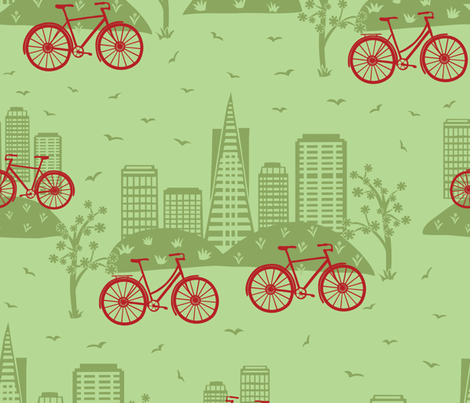 City Bikes Green fabric by gracedesign on Spoonflower - custom fabric