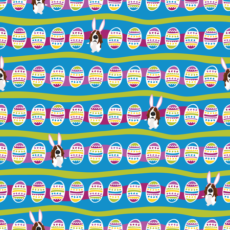 Easter Basset & Eggs Stripe fabric by robyriker on Spoonflower - custom fabric
