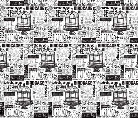 Birdcage Type! (Black & White) fabric by pattyryboltdesigns on Spoonflower - custom fabric