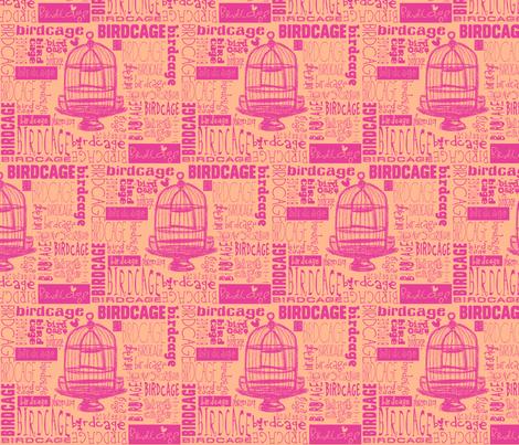 Birdcage Type! (Pink & Peach) fabric by pattyryboltdesigns on Spoonflower - custom fabric