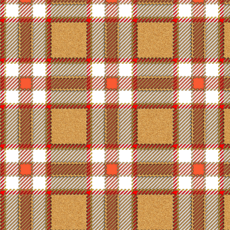 Tan and Peach Fuzzy Plaid fabric by eclectic_house on Spoonflower - custom fabric