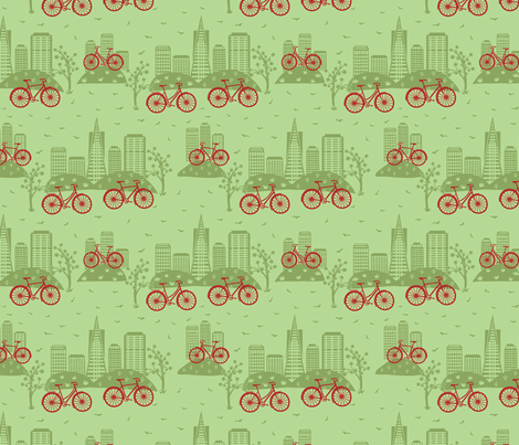 CIty Bikes Green (small) fabric by gracedesign on Spoonflower - custom fabric