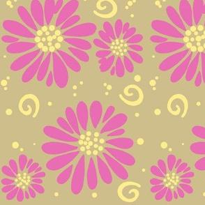daisies and swirls tan/pink