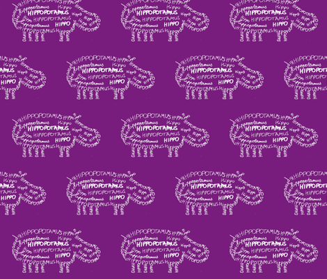 Hippo Calligram Purple fabric by blue_jacaranda on Spoonflower - custom fabric