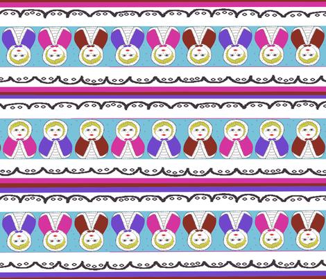 Matryoshka DollStriped Coordinate fabric by scoutmom131 on Spoonflower - custom fabric