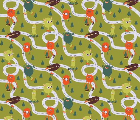 Rollerblade Monsters fabric by noaleco on Spoonflower - custom fabric