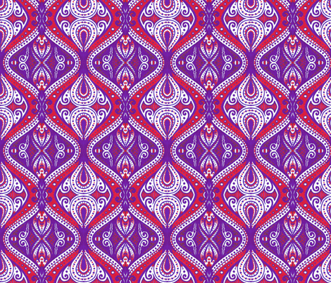 Dacia (indigo and red) fabric by siya on Spoonflower - custom fabric